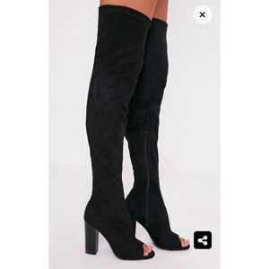 Suede over the knee peep toe boot